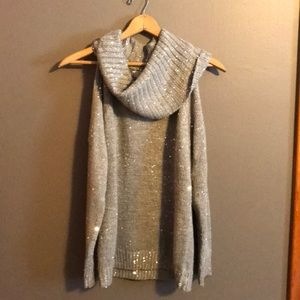 Michael Kors chunky knit sequin cowl sweater M